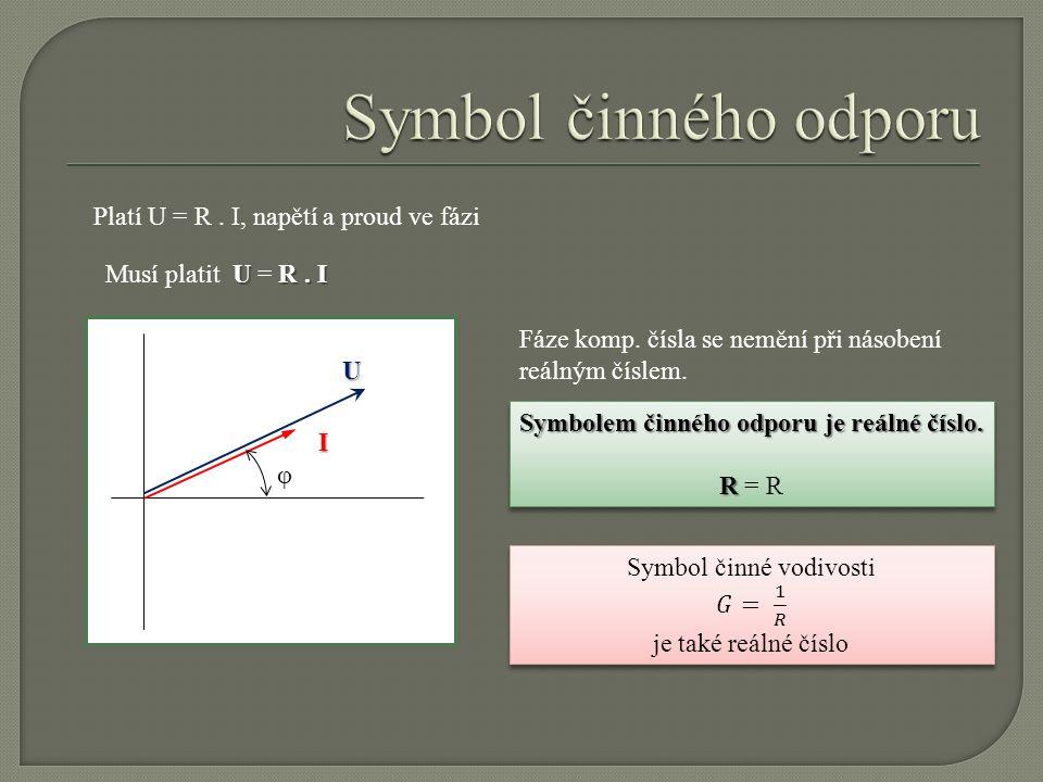 I φ U Platí U = R. I, napětí a proud ve fázi U R. I Musí platit U = R. I Fáze komp. čísla se nemění při násobení reálným číslem. Symbolem činného odpo