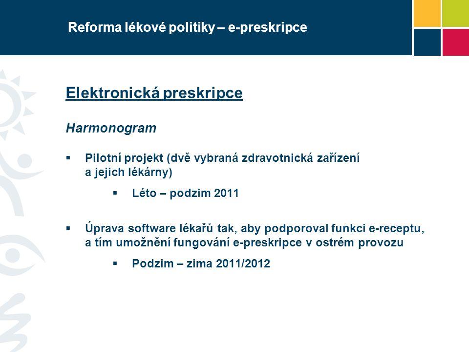 Reforma lékové politiky – e-preskripce Elektronická preskripce Harmonogram  Pilotní projekt (dvě vybraná zdravotnická zařízení a jejich lékárny)  Lé