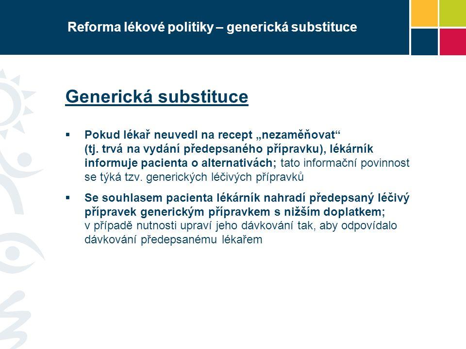 """Reforma lékové politiky – generická substituce Generická substituce  Pokud lékař neuvedl na recept """"nezaměňovat"""" (tj. trvá na vydání předepsaného pří"""