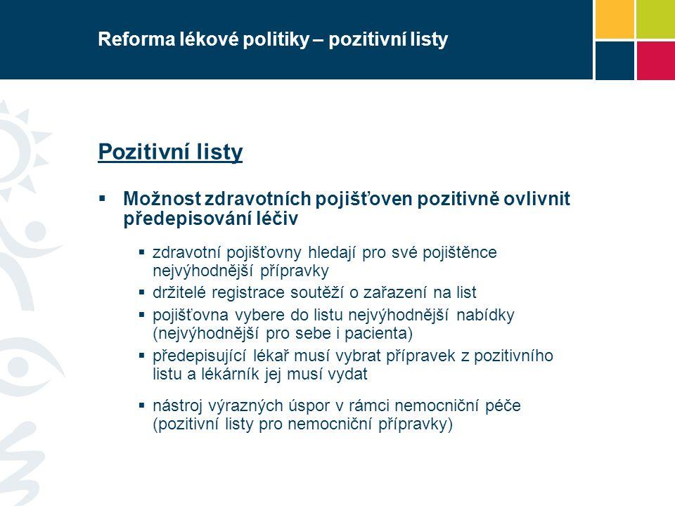 Reforma lékové politiky – pozitivní listy Pozitivní listy  Možnost zdravotních pojišťoven pozitivně ovlivnit předepisování léčiv  zdravotní pojišťovny hledají pro své pojištěnce nejvýhodnější přípravky  držitelé registrace soutěží o zařazení na list  pojišťovna vybere do listu nejvýhodnější nabídky (nejvýhodnější pro sebe i pacienta)  předepisující lékař musí vybrat přípravek z pozitivního listu a lékárník jej musí vydat  nástroj výrazných úspor v rámci nemocniční péče (pozitivní listy pro nemocniční přípravky)