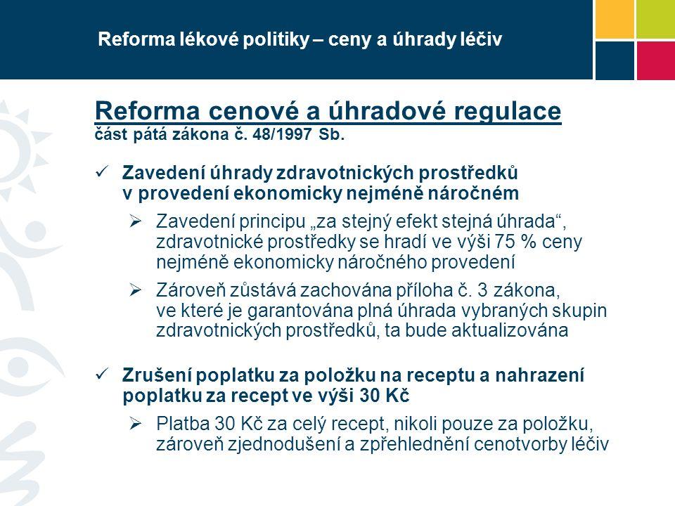 Reforma lékové politiky – ceny a úhrady léčiv Reforma cenové a úhradové regulace část pátá zákona č. 48/1997 Sb. Zavedení úhrady zdravotnických prostř