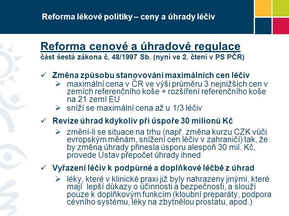 Reforma lékové politiky – ceny a úhrady léčiv Reforma cenové a úhradové regulace část šestá zákona č. 48/1997 Sb. (nyní ve 2. čtení v PS PČR) Změna zp