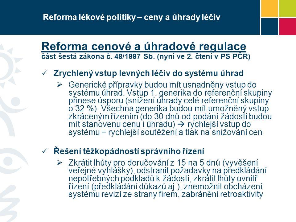Reforma lékové politiky – ceny a úhrady léčiv Reforma cenové a úhradové regulace část šestá zákona č. 48/1997 Sb. (nyní ve 2. čtení v PS PČR) Zrychlen