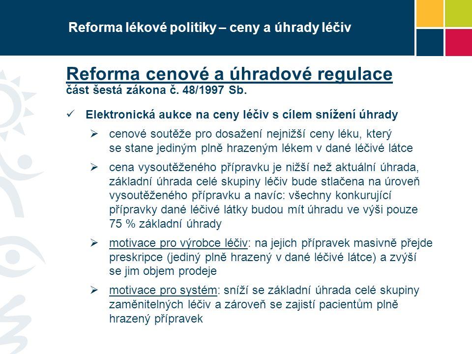Reforma lékové politiky – ceny a úhrady léčiv Reforma cenové a úhradové regulace část šestá zákona č.