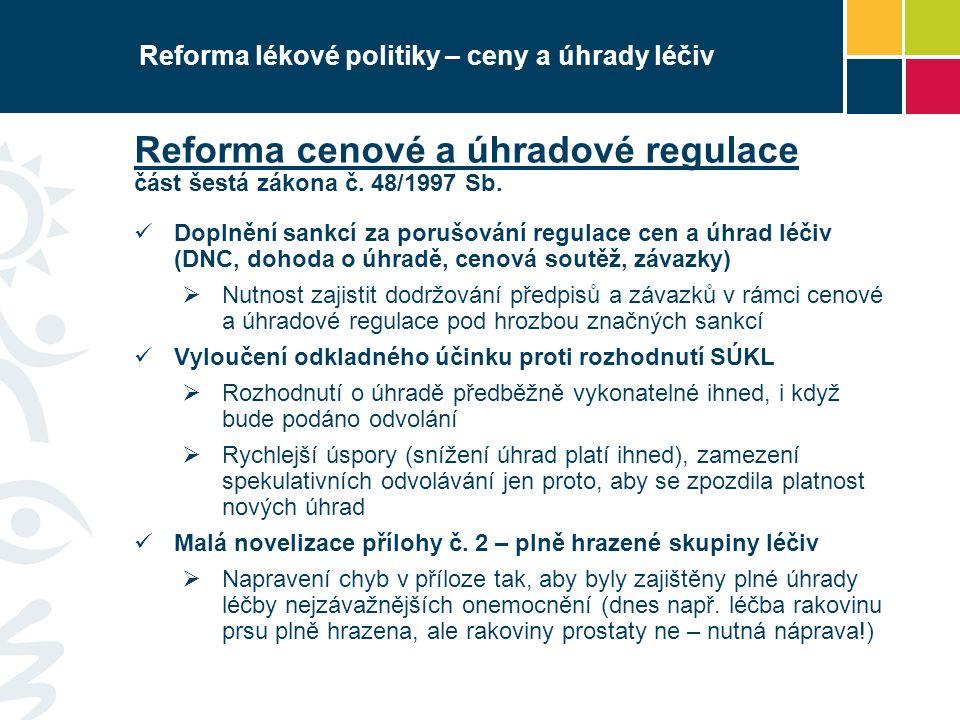Reforma lékové politiky – ceny a úhrady léčiv Reforma cenové a úhradové regulace část šestá zákona č. 48/1997 Sb. Doplnění sankcí za porušování regula