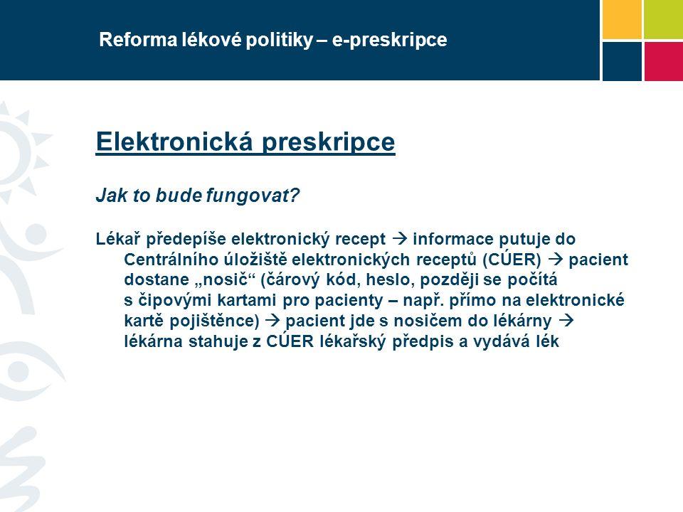 Reforma lékové politiky – e-preskripce Elektronická preskripce Jak to bude fungovat? Lékař předepíše elektronický recept  informace putuje do Centrál