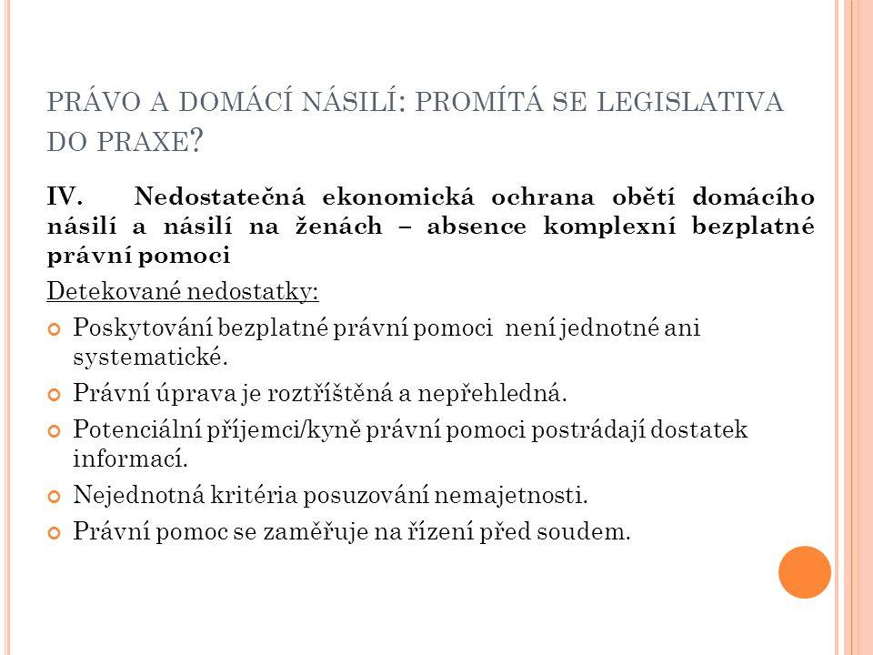 PRÁVO A DOMÁCÍ NÁSILÍ : PROMÍTÁ SE LEGISLATIVA DO PRAXE .