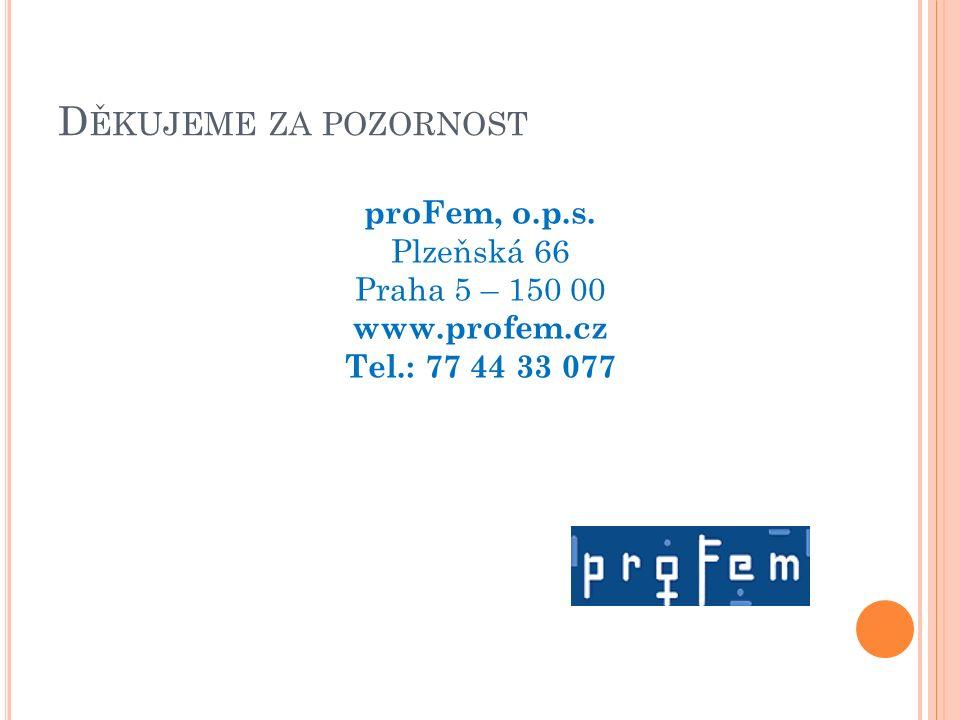 D ĚKUJEME ZA POZORNOST proFem, o.p.s. Plzeňská 66 Praha 5 – 150 00 www.profem.cz Tel.: 77 44 33 077