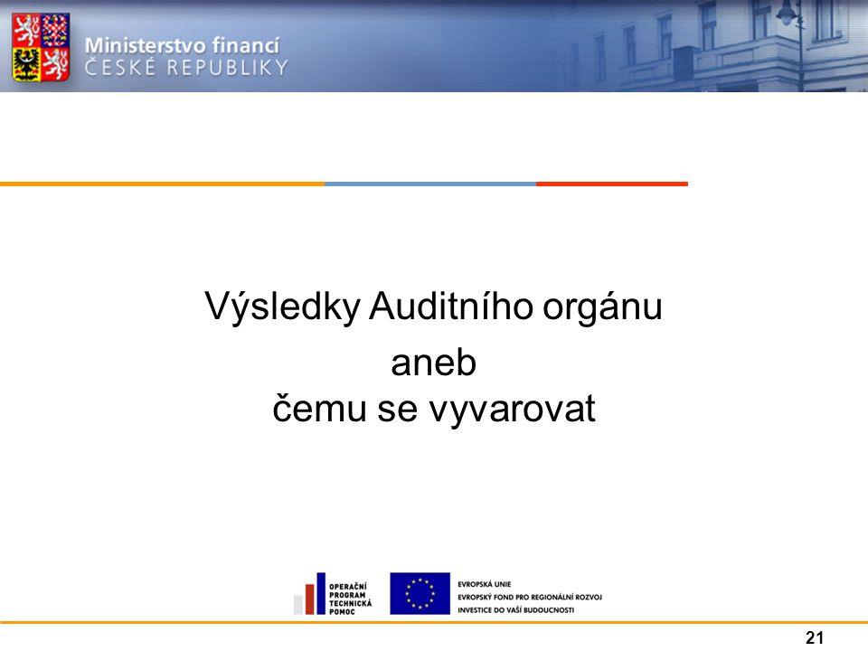Výsledky Auditního orgánu aneb čemu se vyvarovat 21