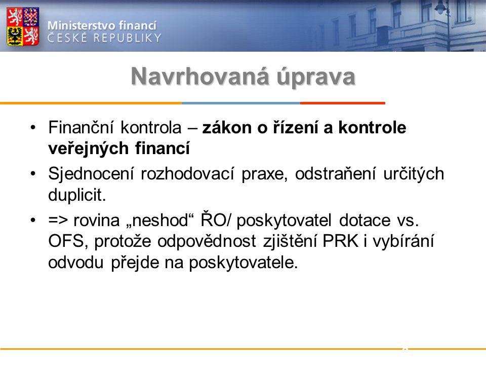Navrhovaná úprava Finanční kontrola – zákon o řízení a kontrole veřejných financí Sjednocení rozhodovací praxe, odstraňení určitých duplicit.