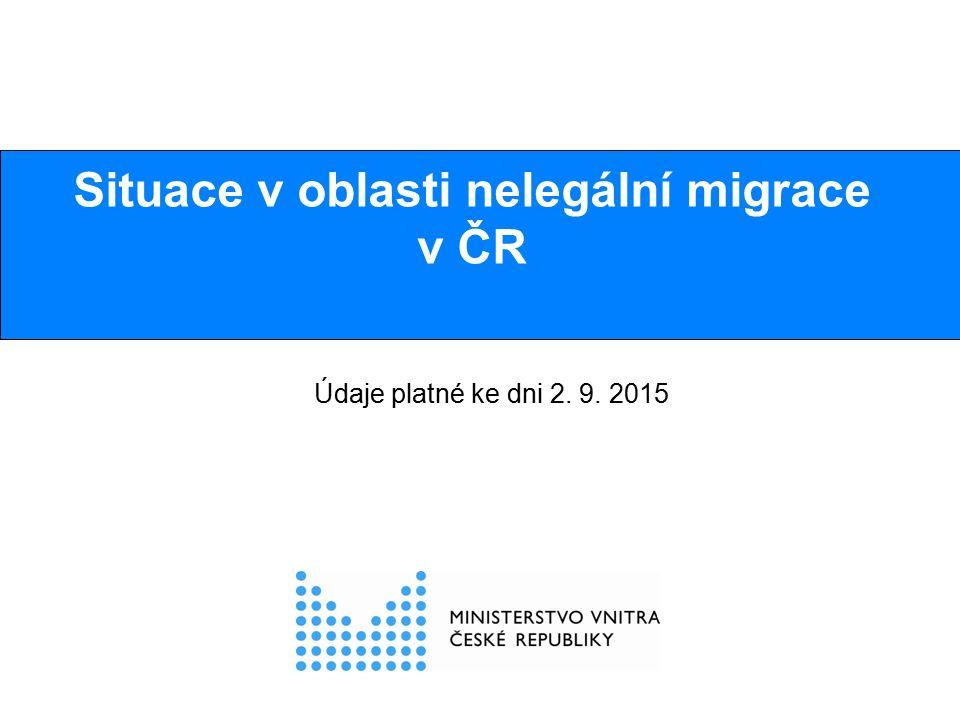 Tranzitní nelegální migrace v ČR  V celém roce 2014 zjištěno necelých 400 osob  V první polovině roku 2015 zjištěno cca 150 osob měsíčně  Od 17.6.2015 do 2.9.2015 (od zahájení policejního opatření v souvislosti s migrační krizí) zjištěno celkem 2450 osob, tj.