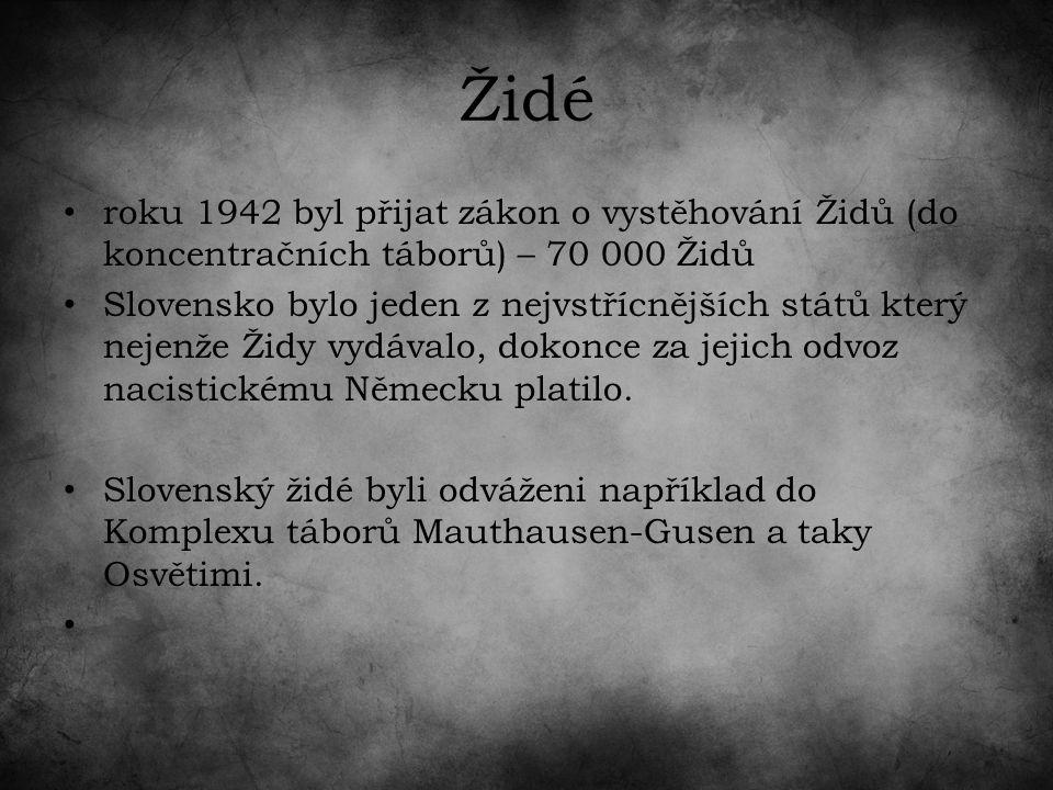 Židé roku 1942 byl přijat zákon o vystěhování Židů (do koncentračních táborů) – 70 000 Židů Slovensko bylo jeden z nejvstřícnějších států který nejenže Židy vydávalo, dokonce za jejich odvoz nacistickému Německu platilo.