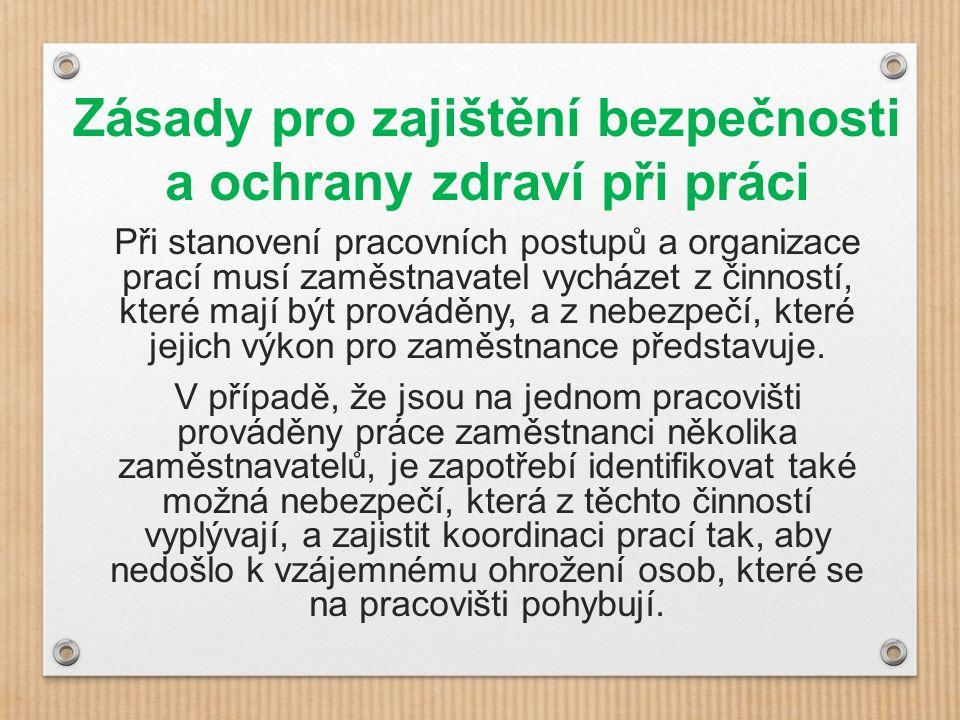Zásady pro zajištění bezpečnosti a ochrany zdraví při práci S opatřeními, která byla v souvislosti s nebezpečím přijata, je nutné seznámit své zaměstnance a další osoby, kterých se týkají, a následně v rámci prevence postupovat v souladu s požadavky právních a ostatních předpisů k zajištění BOZP.