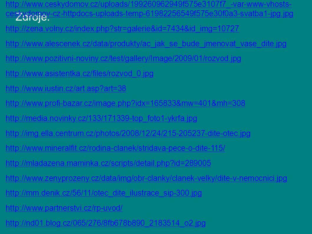 Zdroje: http://aplikace.mvcr.cz/archiv2008/sbirka/1963/sb53-63.pdf http://www.alescenek.cz/data/produkty/linde_z_rodina_komentar_predpisy_8vyd.jpg http://www.ceskydomov.cz/uploads/199260962949f575e3107f7_-var-www-vhosts- ceskydomov-cz-httpdocs-uploads-temp-61982256549f575e30f0a3-svatba1-jpg.jpg http://zena.volny.cz/index.php?str=galerie&id=7434&id_img=10727 http://www.alescenek.cz/data/produkty/ac_jak_se_bude_jmenovat_vase_dite.jpg http://www.pozitivni-noviny.cz/test/gallery/Image/2009/01/rozvod.jpg http://www.asistentka.cz/files/rozvod_0.jpg http://www.iustin.cz/art.asp?art=38 http://www.profi-bazar.cz/image.php?idx=165833&mw=401&mh=308 http://media.novinky.cz/133/171339-top_foto1-ykrfa.jpg http://img.ella.centrum.cz/photos/2008/12/24/215-205237-dite-otec.jpg http://www.mineralfit.cz/rodina-clanek/stridava-pece-o-dite-115/ http://mladazena.maminka.cz/scripts/detail.php?id=289005 http://www.zenyprozeny.cz/data/img/obr-clanky/clanek-velky/dite-v-nemocnici.jpg http://mm.denik.cz/56/11/otec_dite_ilustrace_sip-300.jpg http://www.partnerstvi.cz/rp-uvod/ http://nd01.blog.cz/065/276/8fb678b890_2183514_o2.jpg http://www.autorevue.cz/Obrazky/2006/04duben/mkocianova/03.jpg