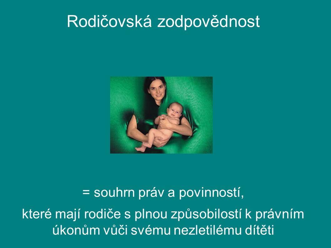 Rodičovská zodpovědnost = souhrn práv a povinností, které mají rodiče s plnou způsobilostí k právním úkonům vůči svému nezletilému dítěti
