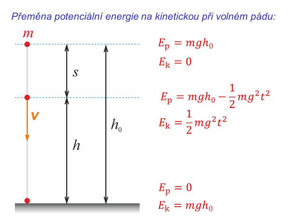 Přeměna potenciální energie na kinetickou při volném pádu: