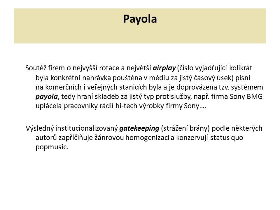 Payola Soutěž firem o nejvyšší rotace a největší airplay (číslo vyjadřující kolikrát byla konkrétní nahrávka pouštěna v médiu za jistý časový úsek) pí