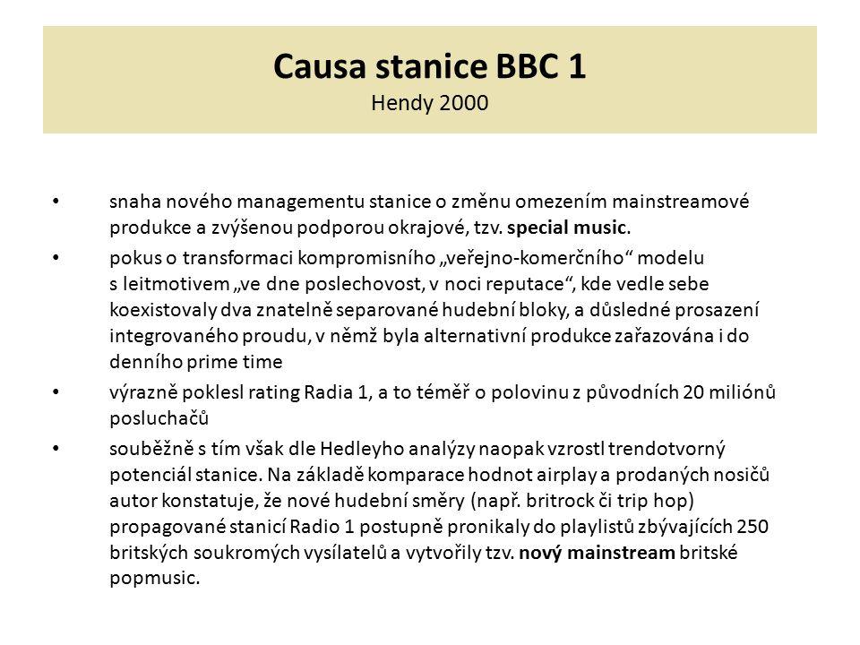 Causa stanice BBC 1 Hendy 2000 snaha nového managementu stanice o změnu omezením mainstreamové produkce a zvýšenou podporou okrajové, tzv. special mus
