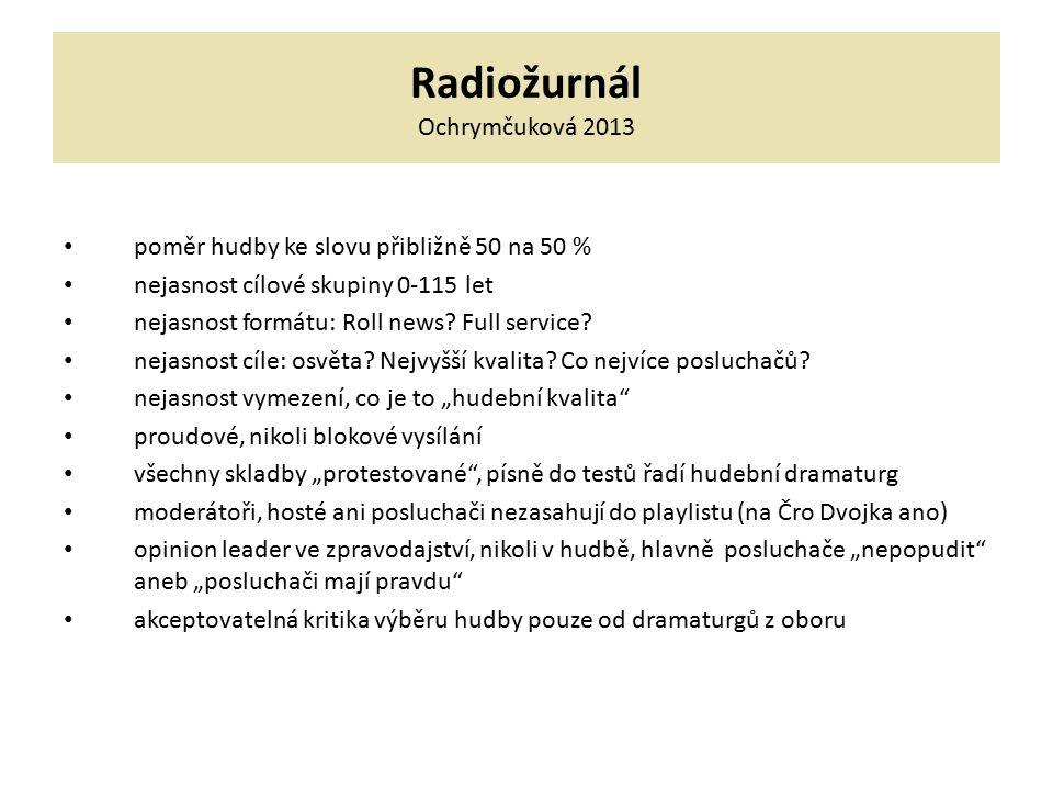 Radiožurnál Ochrymčuková 2013 poměr hudby ke slovu přibližně 50 na 50 % nejasnost cílové skupiny 0-115 let nejasnost formátu: Roll news? Full service?