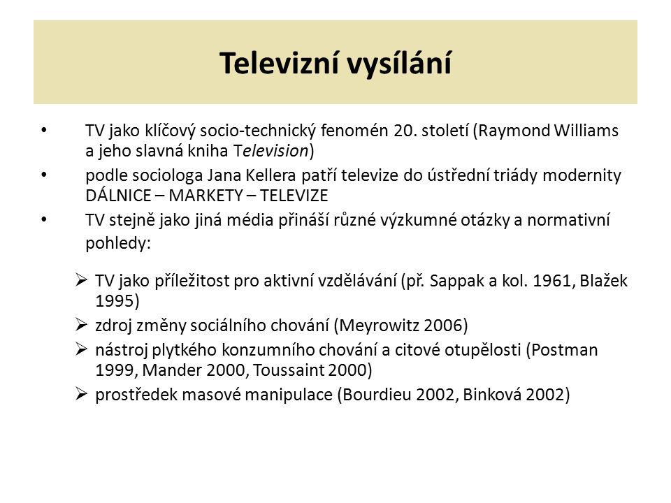 Televizní vysílání TV jako klíčový socio-technický fenomén 20. století (Raymond Williams a jeho slavná kniha Television) podle sociologa Jana Kellera