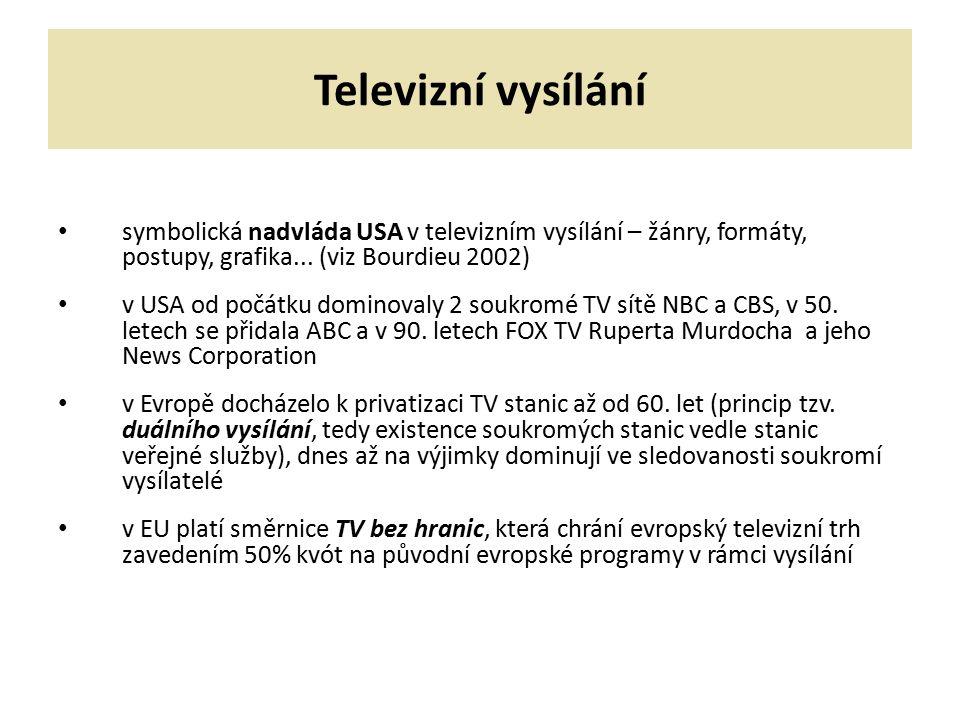 Televizní vysílání symbolická nadvláda USA v televizním vysílání – žánry, formáty, postupy, grafika... (viz Bourdieu 2002) v USA od počátku dominovaly