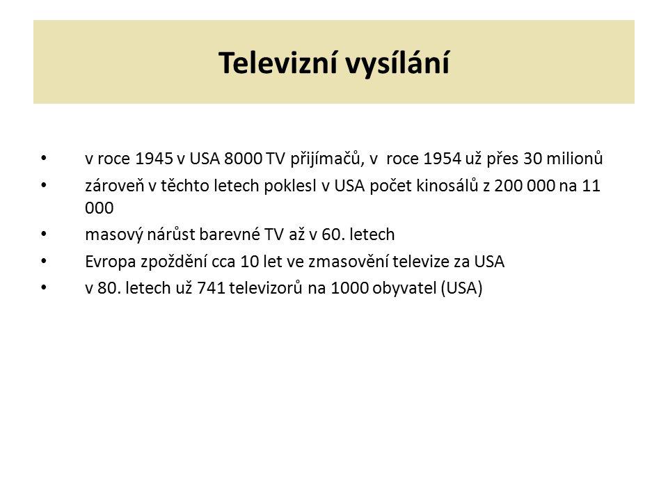 Televizní vysílání v roce 1945 v USA 8000 TV přijímačů, v roce 1954 už přes 30 milionů zároveň v těchto letech poklesl v USA počet kinosálů z 200 000 na 11 000 masový nárůst barevné TV až v 60.