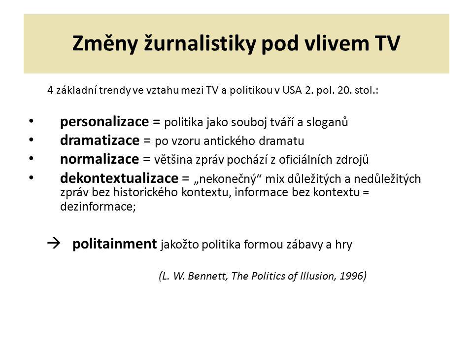 Změny žurnalistiky pod vlivem TV 4 základní trendy ve vztahu mezi TV a politikou v USA 2. pol. 20. stol.: personalizace = politika jako souboj tváří a