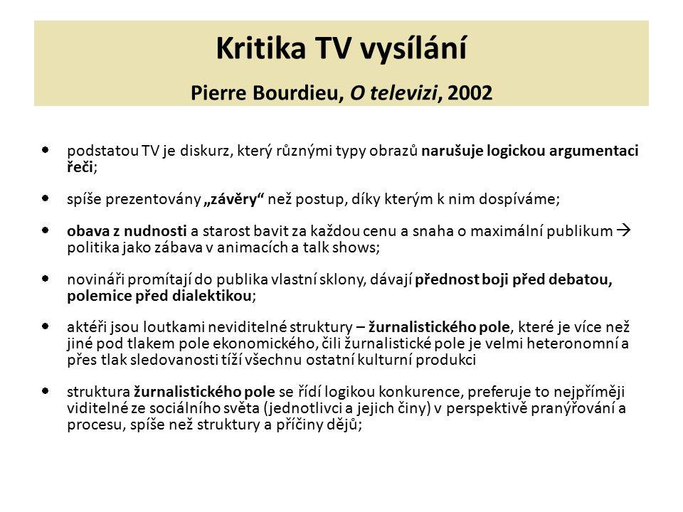 Kritika TV vysílání Pierre Bourdieu, O televizi, 2002  podstatou TV je diskurz, který různými typy obrazů narušuje logickou argumentaci řeči;  spíše