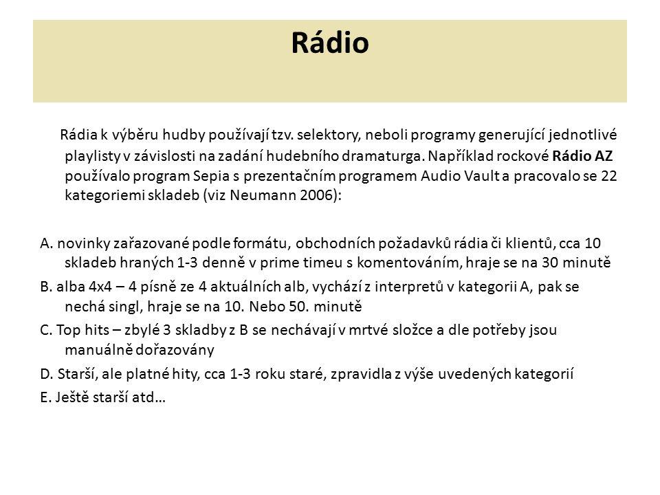 Rádio Rádia k výběru hudby používají tzv. selektory, neboli programy generující jednotlivé playlisty v závislosti na zadání hudebního dramaturga. Např