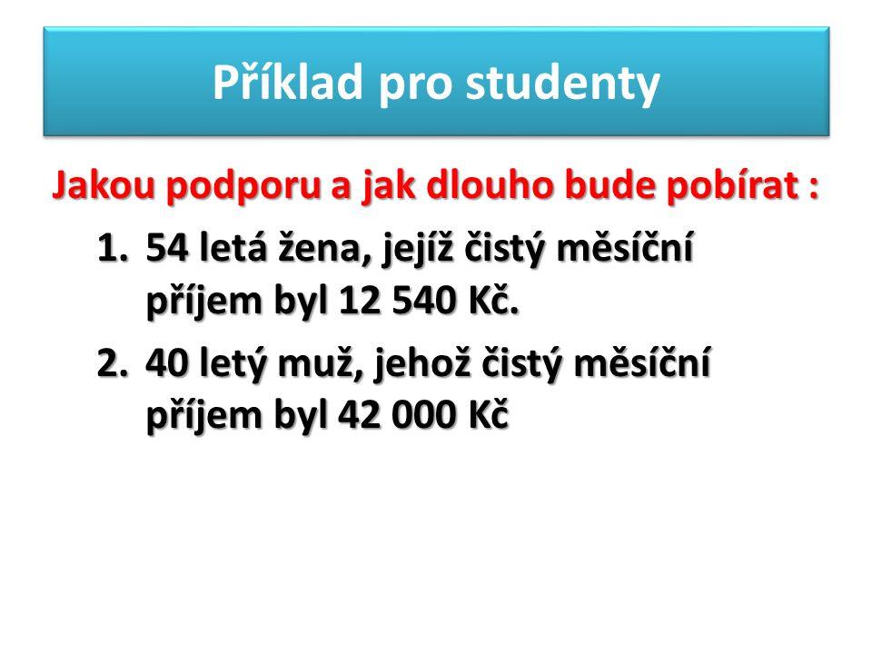 Příklad pro studenty Jakou podporu a jak dlouho bude pobírat : 1.54 letá žena, jejíž čistý měsíční příjem byl 12 540 Kč.