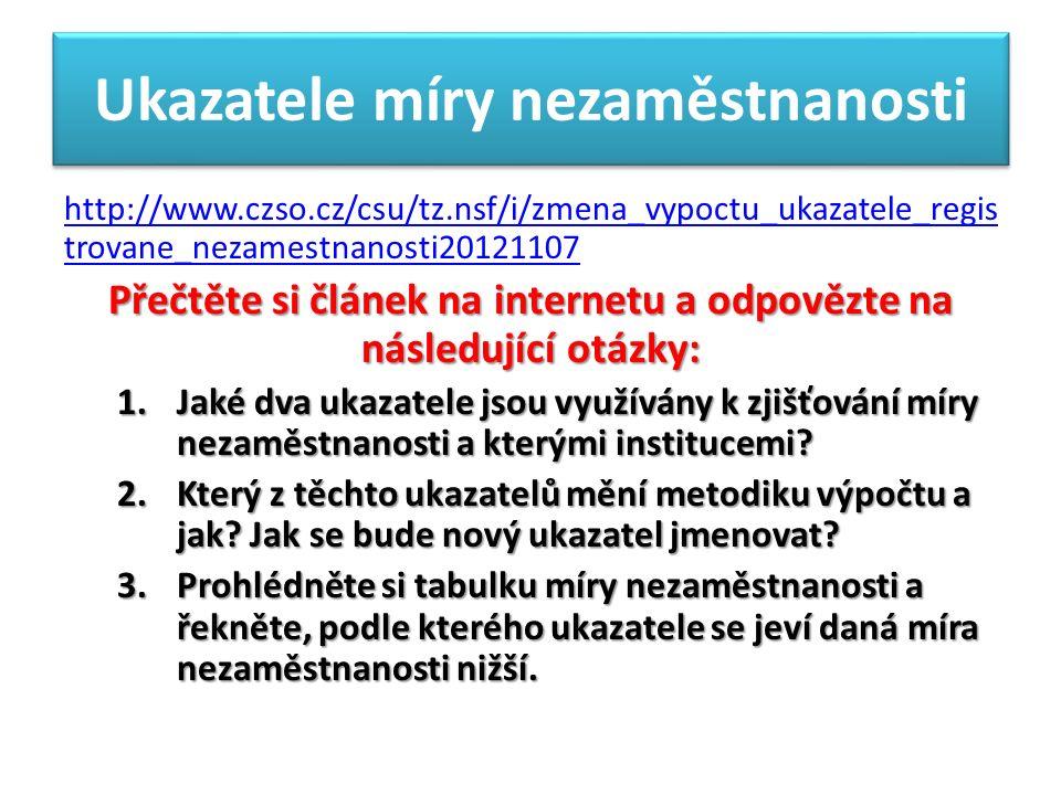 Ukazatele míry nezaměstnanosti http://www.czso.cz/csu/tz.nsf/i/zmena_vypoctu_ukazatele_regis trovane_nezamestnanosti20121107 Přečtěte si článek na internetu a odpovězte na následující otázky: 1.Jaké dva ukazatele jsou využívány k zjišťování míry nezaměstnanosti a kterými institucemi.