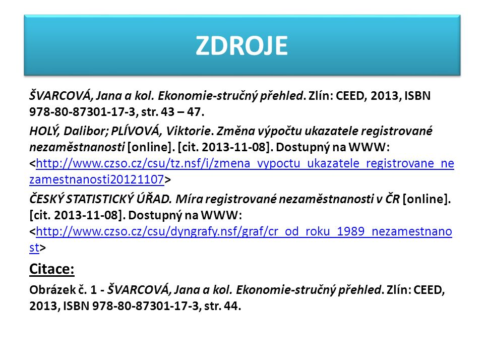 ZDROJE ŠVARCOVÁ, Jana a kol. Ekonomie-stručný přehled.
