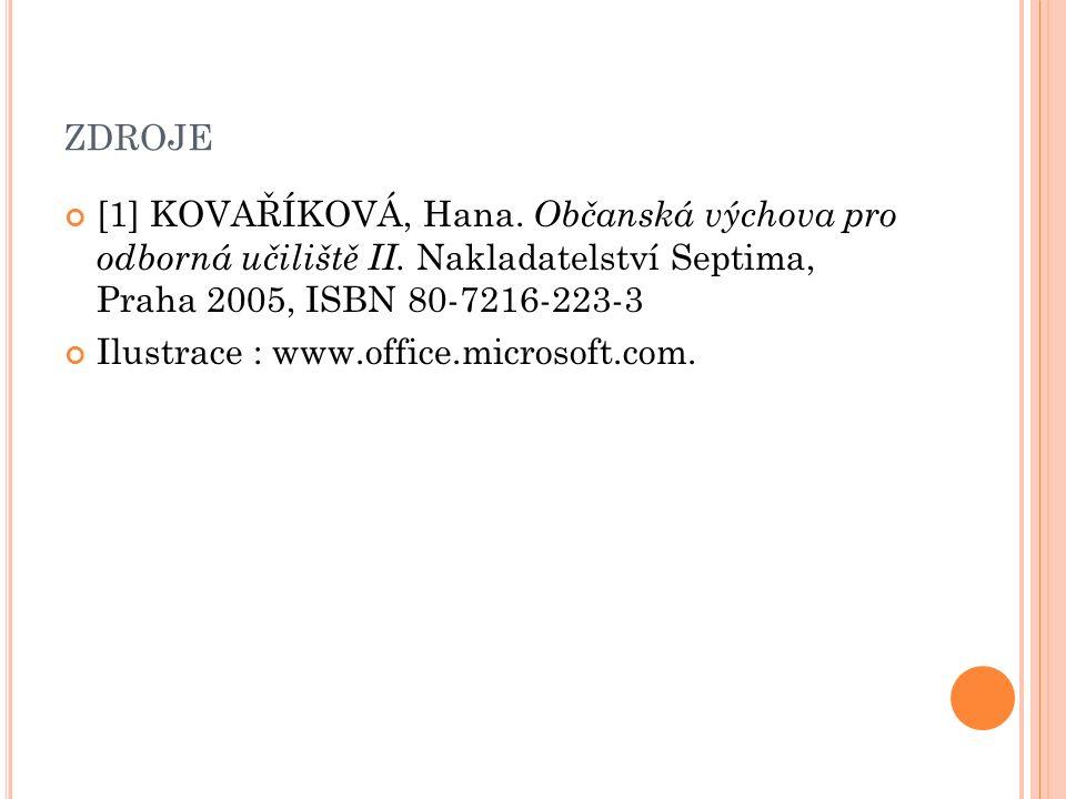 ZDROJE [1] KOVAŘÍKOVÁ, Hana. Občanská výchova pro odborná učiliště II. Nakladatelství Septima, Praha 2005, ISBN 80-7216-223-3 Ilustrace : www.office.m