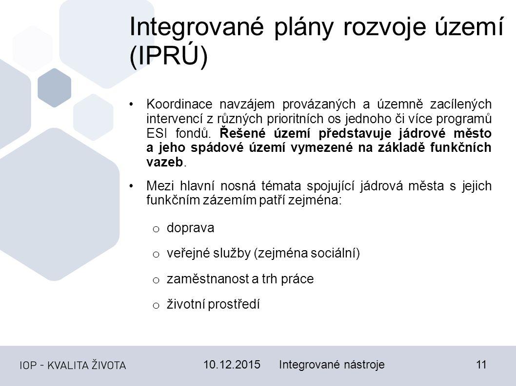 10.12.201511 Integrované plány rozvoje území (IPRÚ) Koordinace navzájem provázaných a územně zacílených intervencí z různých prioritních os jednoho či více programů ESI fondů.