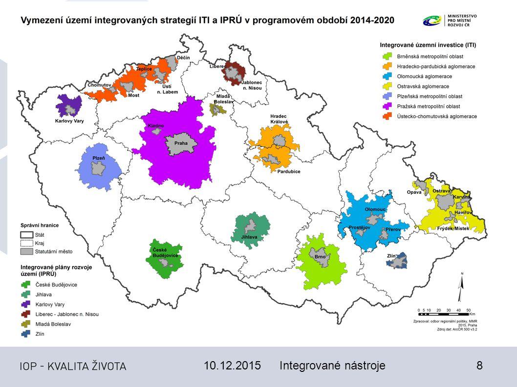 10.12.20159 Integrované územní investice (ITI) ITI bude realizováno nositeli (metropolitními oblastmi nad 300 tis.