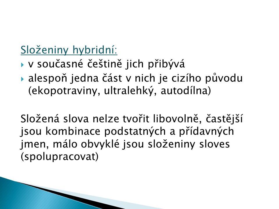 Složeniny hybridní:  v současné češtině jich přibývá  alespoň jedna část v nich je cizího původu (ekopotraviny, ultralehký, autodílna) Složená slova nelze tvořit libovolně, častější jsou kombinace podstatných a přídavných jmen, málo obvyklé jsou složeniny sloves (spolupracovat)