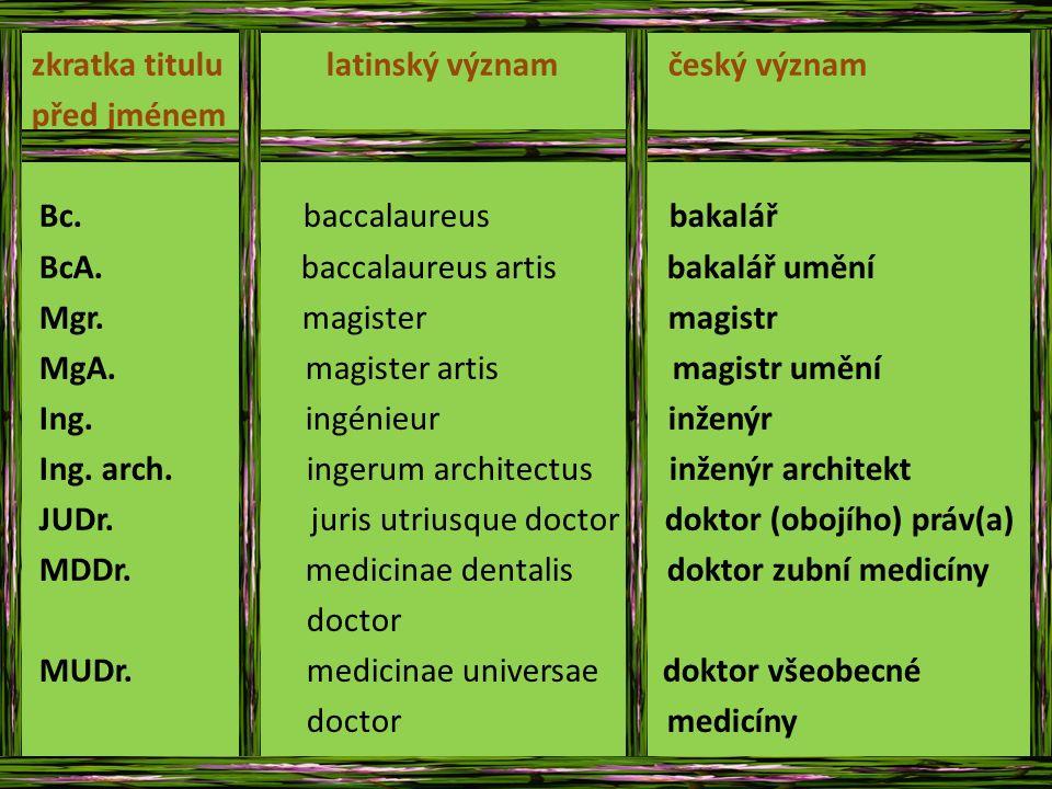 zkratka titulu latinský význam český význam před jménem Bc.