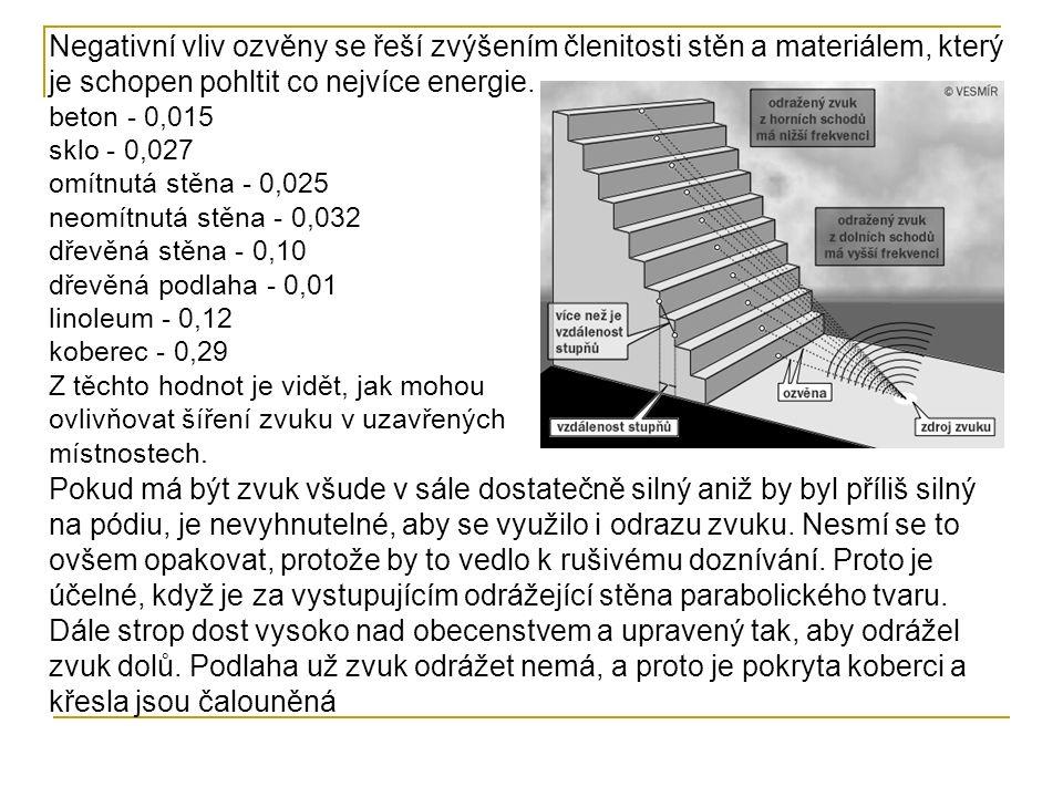 Negativní vliv ozvěny se řeší zvýšením členitosti stěn a materiálem, který je schopen pohltit co nejvíce energie. beton - 0,015 sklo - 0,027 omítnutá