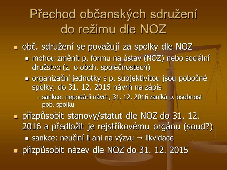 Přechod občanských sdružení do režimu dle NOZ obč.