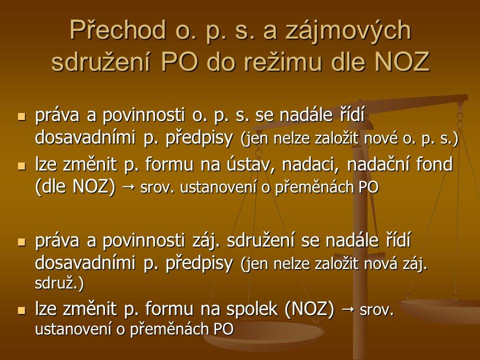Přechod o. p. s. a zájmových sdružení PO do režimu dle NOZ práva a povinnosti o.