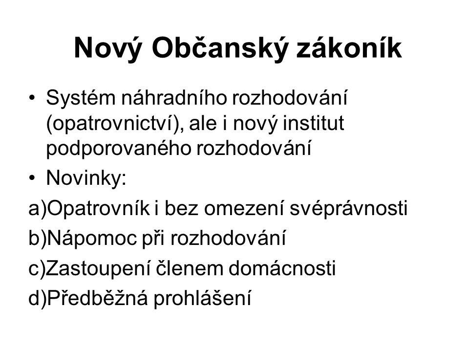 Nový Občanský zákoník Systém náhradního rozhodování (opatrovnictví), ale i nový institut podporovaného rozhodování Novinky: a)Opatrovník i bez omezení