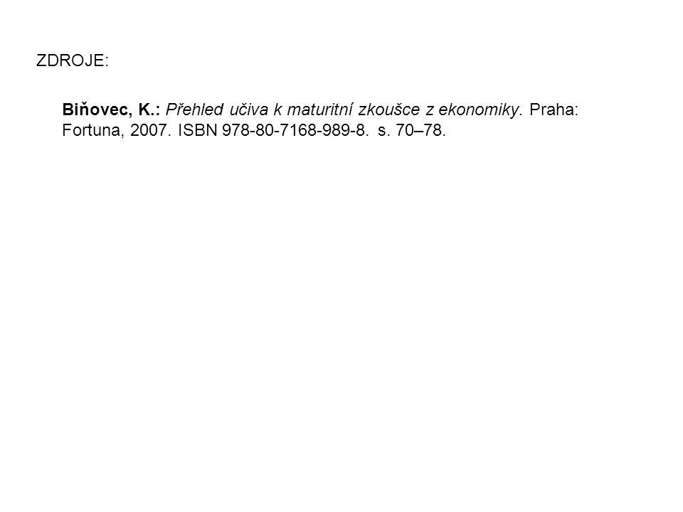 ZDROJE: Biňovec, K.: Přehled učiva k maturitní zkoušce z ekonomiky. Praha: Fortuna, 2007. ISBN 978-80-7168-989-8. s. 70–78.