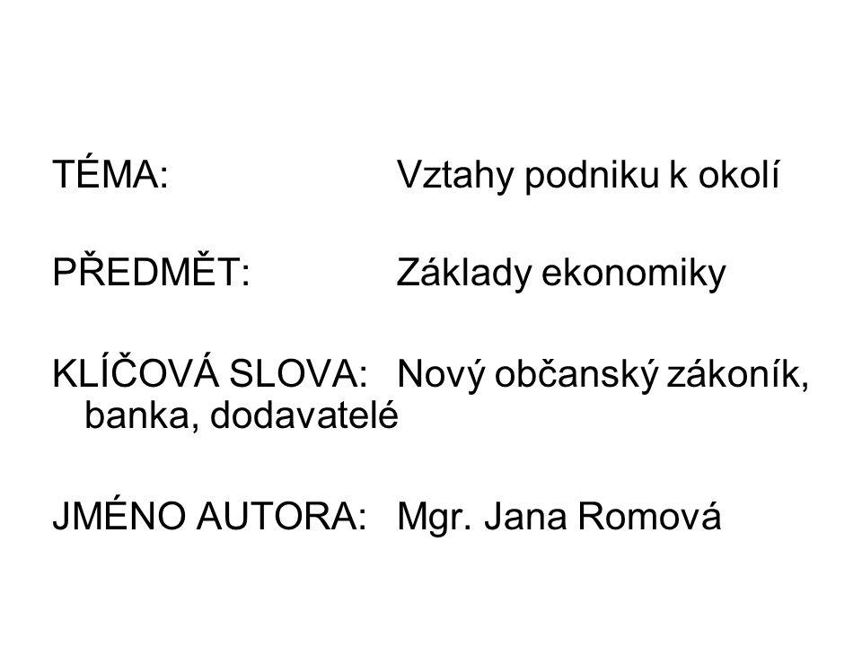 TÉMA:Vztahy podniku k okolí PŘEDMĚT:Základy ekonomiky KLÍČOVÁ SLOVA:Nový občanský zákoník, banka, dodavatelé JMÉNO AUTORA:Mgr. Jana Romová