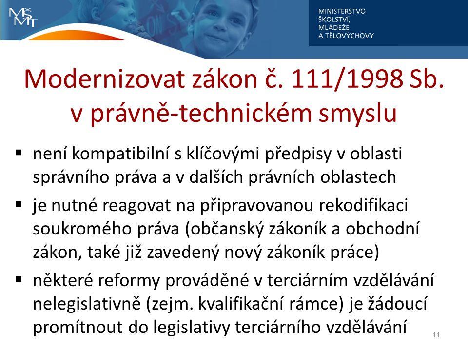 Modernizovat zákon č. 111/1998 Sb.