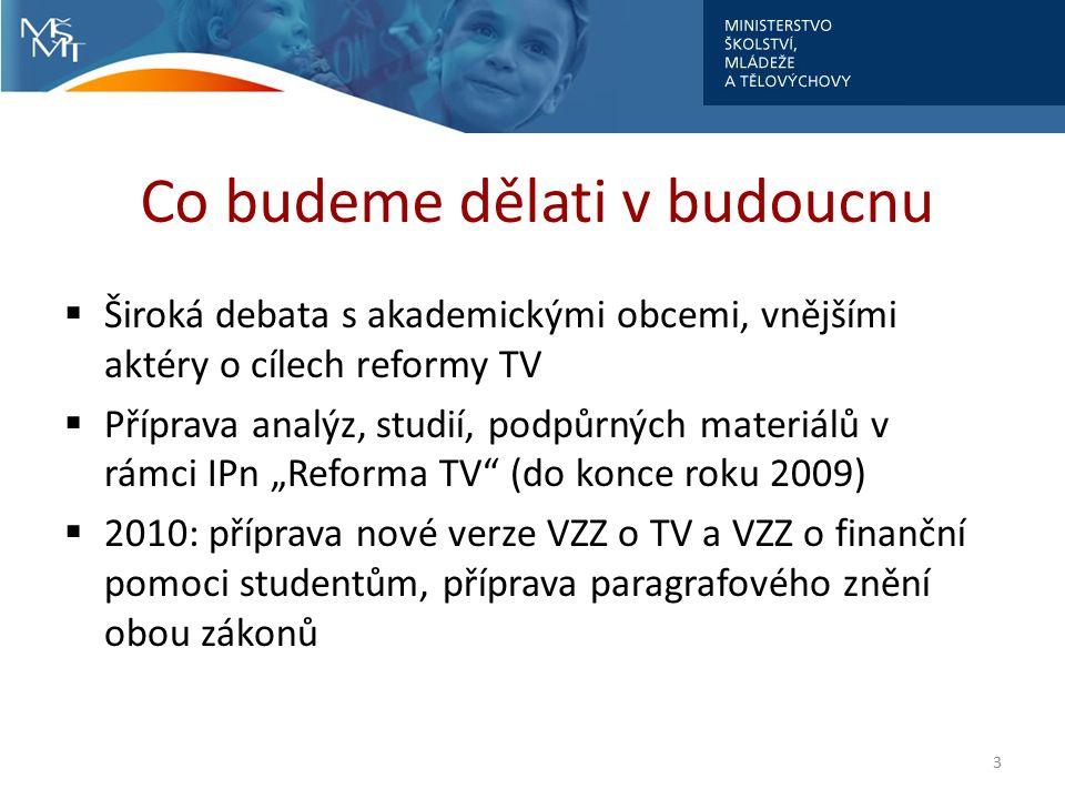 """Co budeme dělati v budoucnu  Široká debata s akademickými obcemi, vnějšími aktéry o cílech reformy TV  Příprava analýz, studií, podpůrných materiálů v rámci IPn """"Reforma TV (do konce roku 2009)  2010: příprava nové verze VZZ o TV a VZZ o finanční pomoci studentům, příprava paragrafového znění obou zákonů 3"""
