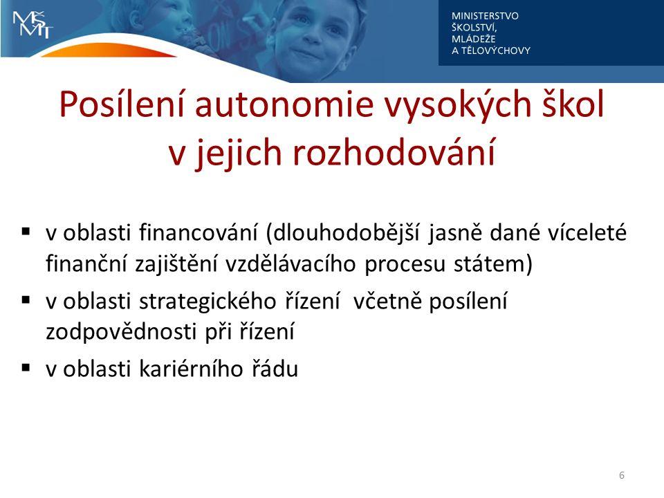Posílení autonomie vysokých škol v jejich rozhodování  v oblasti financování (dlouhodobější jasně dané víceleté finanční zajištění vzdělávacího procesu státem)  v oblasti strategického řízení včetně posílení zodpovědnosti při řízení  v oblasti kariérního řádu 6