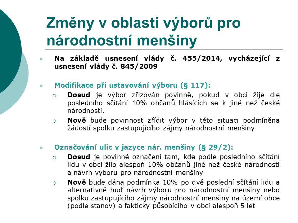 Změny v oblasti výborů pro národnostní menšiny Na základě usnesení vlády č.