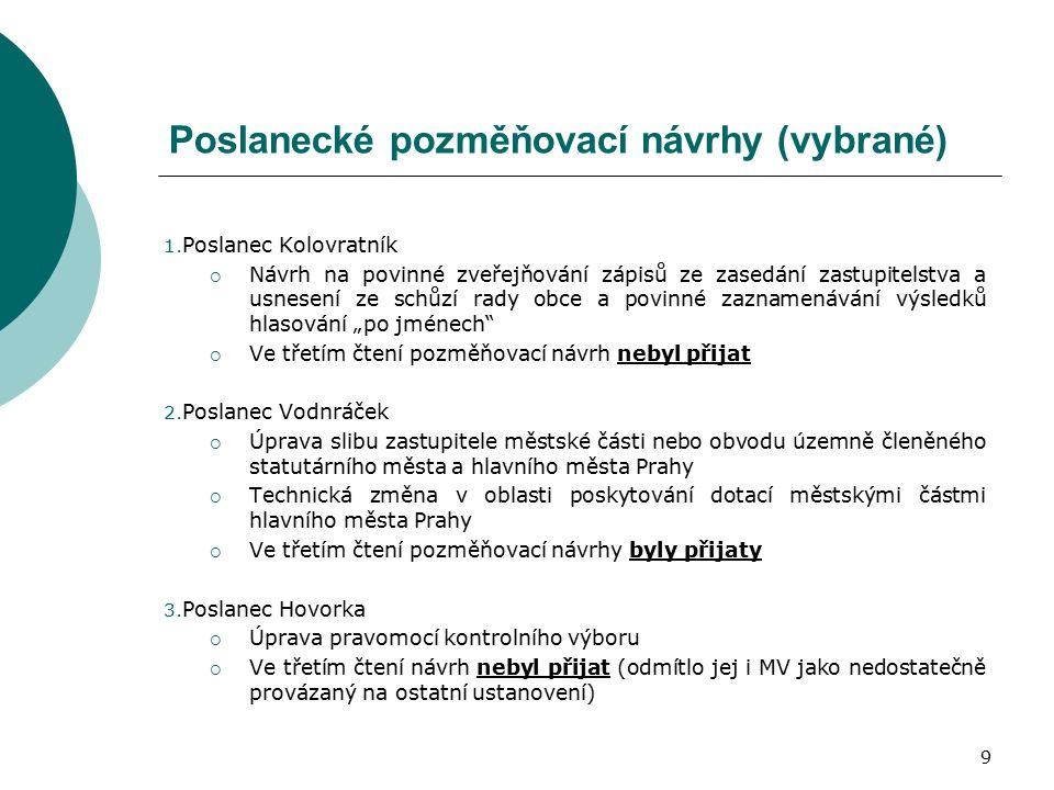 9 Poslanecké pozměňovací návrhy (vybrané) 1.