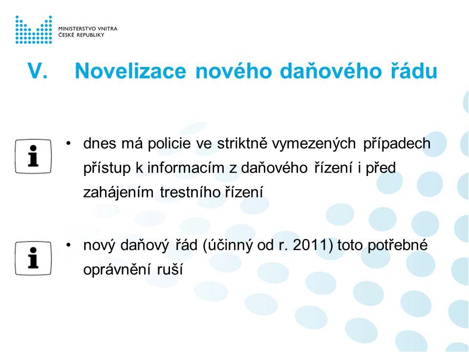 V.Novelizace nového daňového řádu dnes má policie ve striktně vymezených případech přístup k informacím z daňového řízení i před zahájením trestního ř