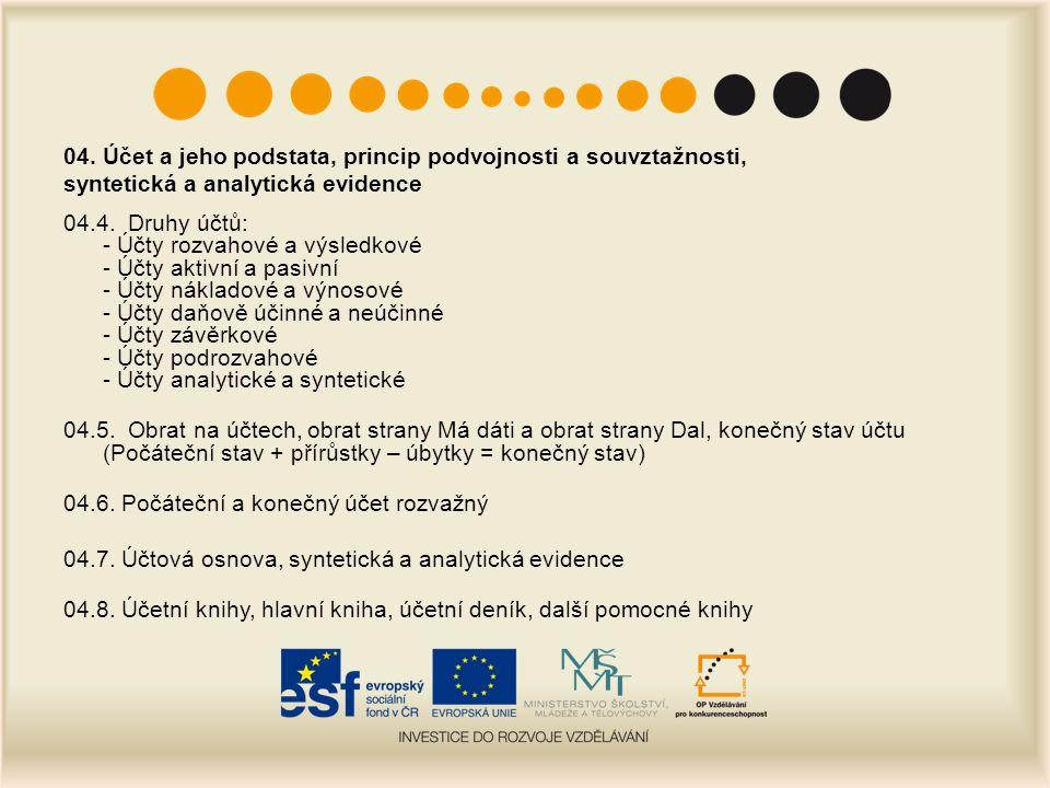 04. Účet a jeho podstata, princip podvojnosti a souvztažnosti, syntetická a analytická evidence 04.4. Druhy účtů: - Účty rozvahové a výsledkové - Účty